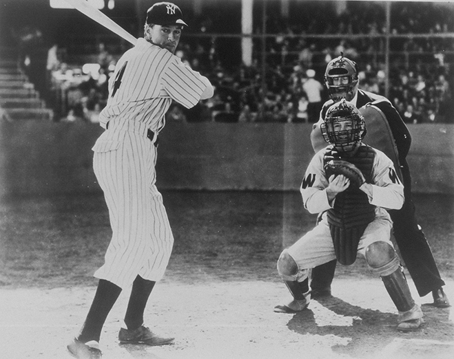 gary cooper as lou gehrig in the pride of the yankees