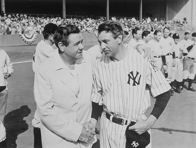 babe ruth and gary cooper in the pride of the yankees