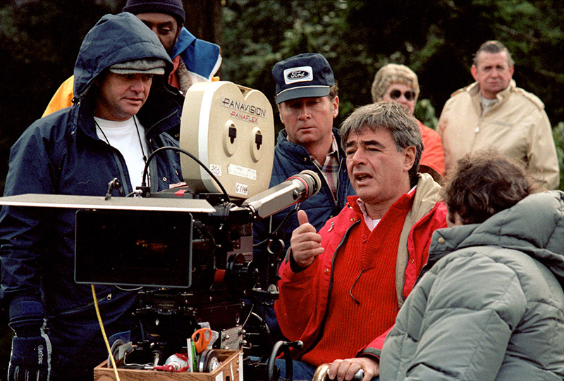 "Richard Donner and crew on the set of ""The Goonies."""