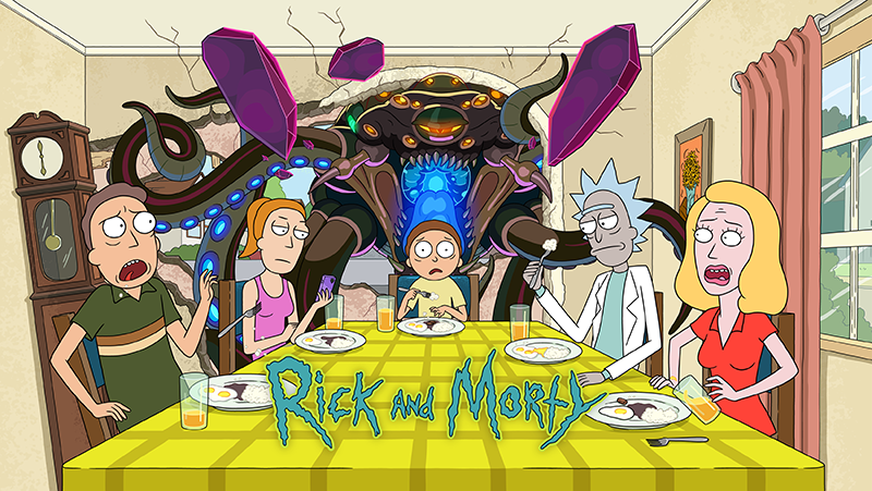 Rick and Morty: Season 5 - Cast sitting around the table looking up in shock and emotionless as alien enters house