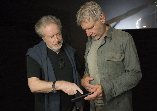 Executive producer RIDLEY SCOTT and HARRISON FORD on the set of blade runner 2049