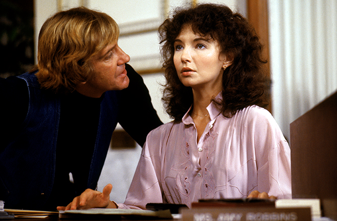 David Warner (as Jack the Ripper) threatens Mary Steenburgen in this frightening scene from Time After Time.