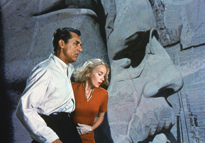 cary grant and eva marie saint on mount rushmore during the climax of north by northwest