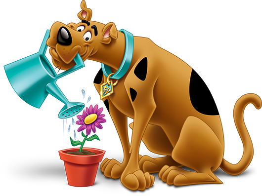 Scooby watering a flower in a pot with a water can