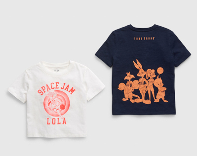 """""""Space Jam: A New Legacy"""" - Gap - Kids shirts with Space Jam and Looney Tunes on front"""