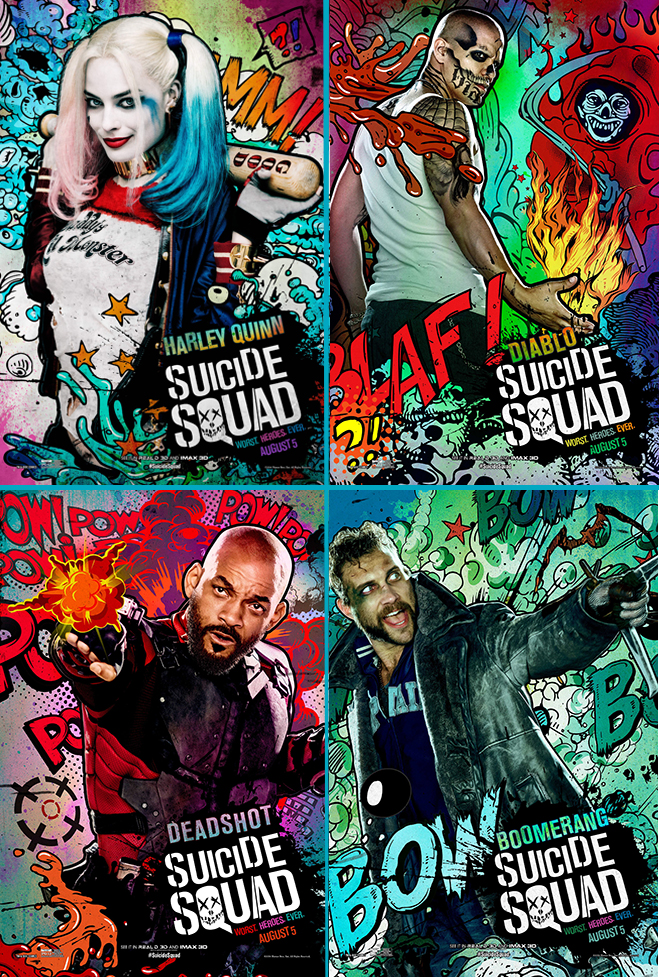 Suicide Squad character posters - Harley Quinn, Diablo, Deadshot, Boomerang