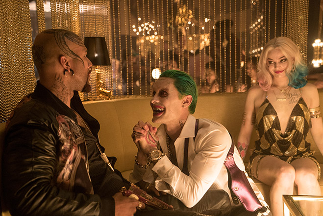 "COMMON as Monster T, JARED LETO as The Joker and MARGOT ROBBIE as Harley Quinn in Warner Bros. Pictures' action adventure ""SUICIDE SQUAD,"" a Warner Bros. Pictures release."