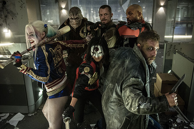 Suicide Squad cast with weapons drawn