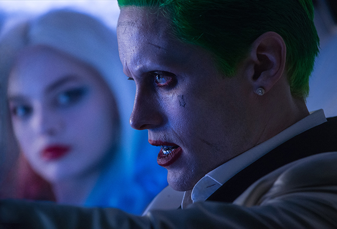 Side profile of Jared Leto as Joker in Suicide Squad