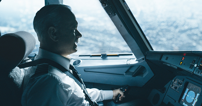 "Tom Hanks as Captain Chesley ""Sully"" Sullenberger in trouble in the cockpit before the famous water landing in Sully."
