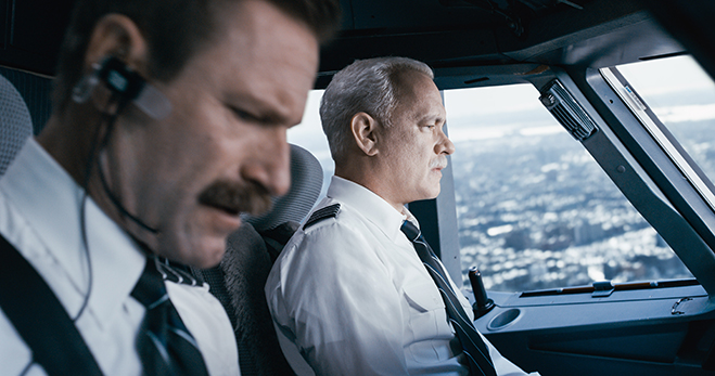 Aaron Eckhart and Tom Hanks reseached their roles in flight simulators prior to filming Sully.