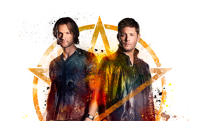 Supernatural cast standing in front of pentacle