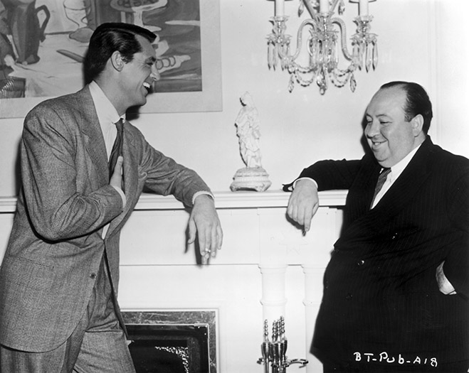 Cary Grant as Johnnie Aysgarth and director Alfred Hitchcock.