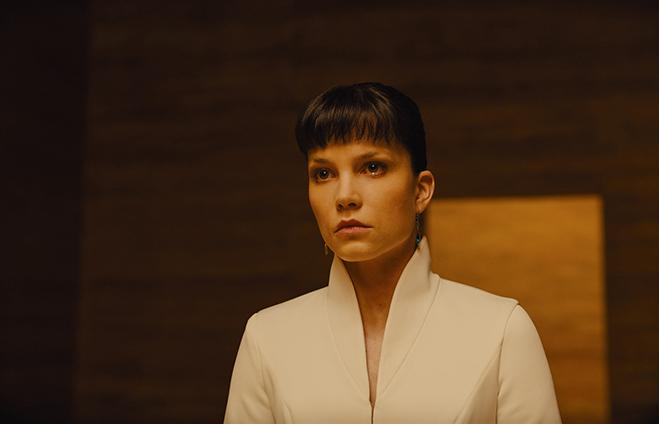 "Sylvia Hoeks as Luv, who director Denis Villeneuve describes as ""Audrey Hepburn on acid."""