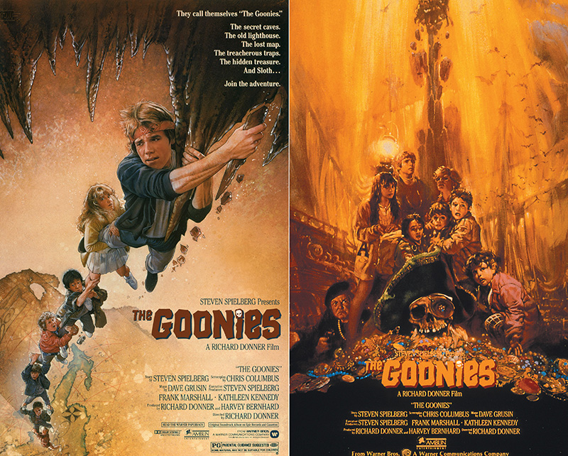 (Left) The original one-sheet poster featuring artwork by Drew Struzan, and (right) the original VHS sleeve featuring artwork by Noriyoshi Ohrai, which was first used on the Japanese theatrical poster.