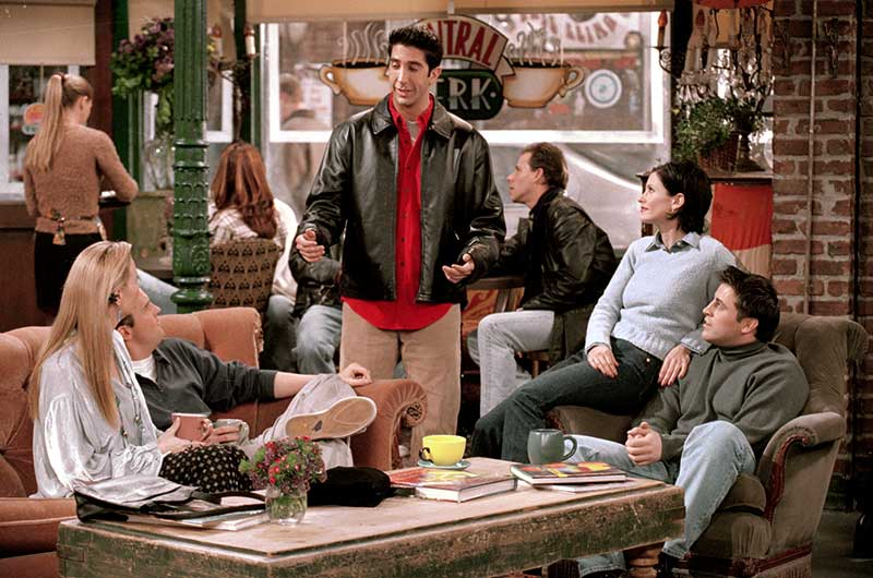 "Lisa Kudrow as Phoebe, Matthew Perry as Chandler, Courteney Cox as Monica and Matt LeBlanc as Joey looking at David Schwimmer as Ross in Central Perk coffee house from episode ""The One With Joey's Dirty Day""."