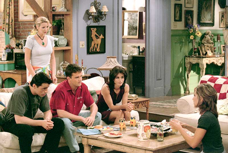"Matt LeBlanc as Joey, Lisa Kudrow as Phoebe, Matthew Perry as Chandler, and Courteney Cox as Monica talking with Jennifer Aniston as Rachel in episode ""The One With Ross' New Girlfriend""."