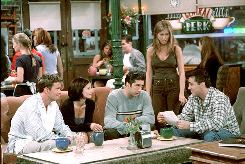 "Matthew Perry as Chandler, Courteney Cox as Monica, David Schwimmer as Ross, Jennifer Aniston as Rachel and Matt LeBlanc as Joey in Central Perk coffee house from episode ""The One With The Cat"""
