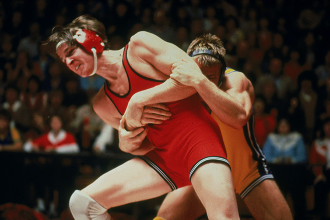 Matthew Modine in the grip of competition as wrestler Louden Swain in 1985's Vision Quest