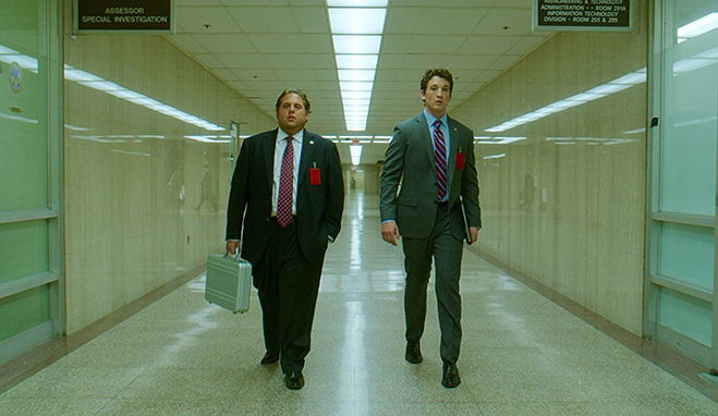 jonah hill as efraim diveroli and miles teller as david packouz in the drama/comedy war dogs