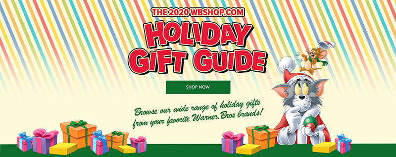 WB Shop Holiday Gift Guide - Tom and Jerry in Christmas robe with ribboned rainbow background and presents