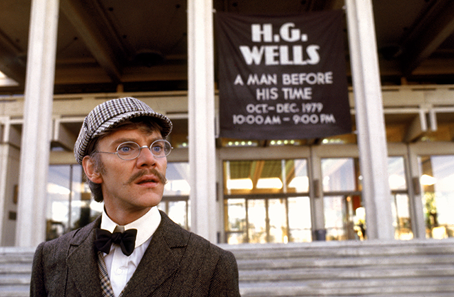 Malcolm McDowell as science fiction writer H.G. Wells in a scene from Time After Time.