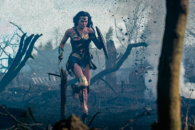 Wonder Woman as she sprints across No Man's Land