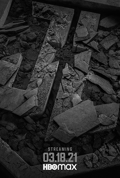 Zack Snyder's Justice League: Teaser Art of brick with star on ground smashed with other bricks