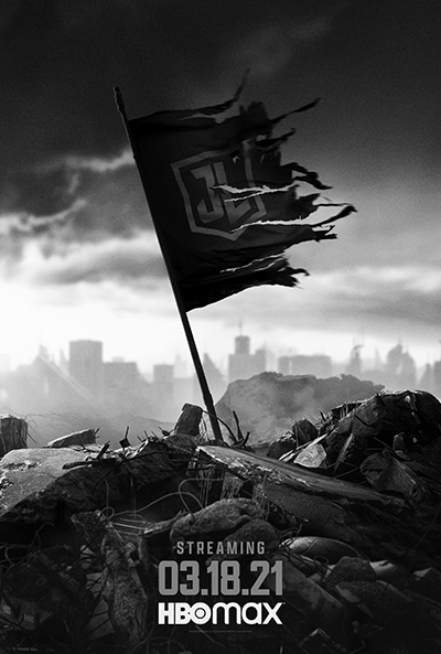 Zack Snyder's Justice League: Teaser Art of flag of JL torn blowing in the wind
