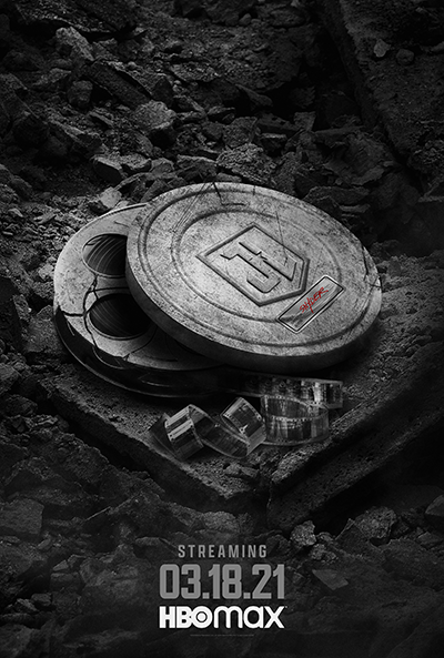 Zack Snyder's Justice League: Teaser Art of shield on ground with film strips and Snyder stamp