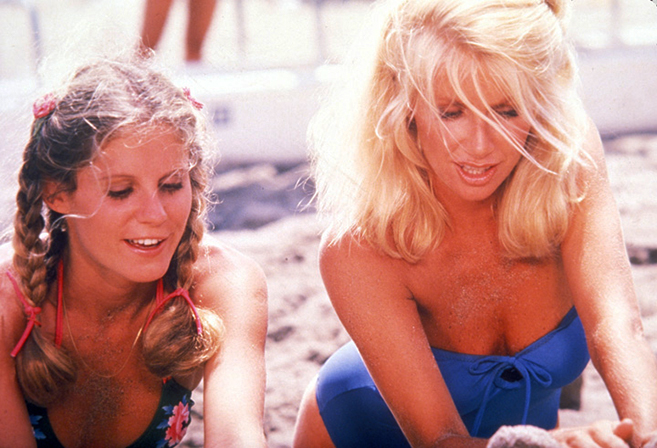 P.J. Soles and Suzanne Somers start a sand castle party in the 1978 TV Movie, Zuma Beach.